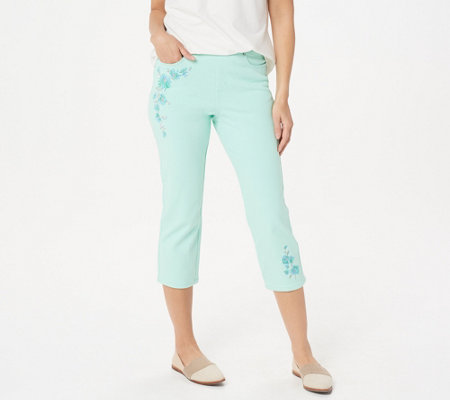 Belle by Kim Gravel Flexibelle Embroidered Pull-On Jeans