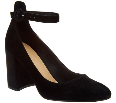 """As Is"" Marc Fisher Suede Pumps with Ankle Strap- Issa"