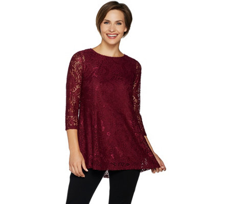 """As Is"" Joan Rivers Lace Tunic with 3/4 Sleeves"