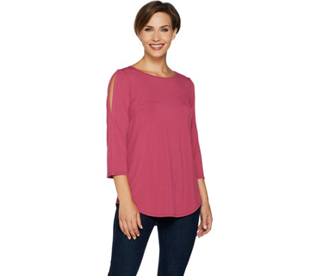 """As Is"" Joan Rivers Cold Shoulder Knit Top"