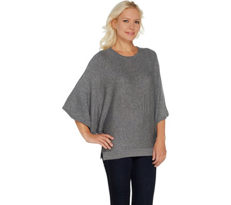 """As Is"" Laurie Felt Cashmere Blend Knit Scoop-Neck Poncho"
