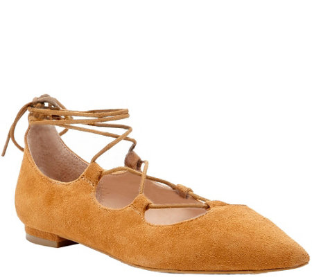 Sole Society Lace-up Pointed Toe Flats - Georgina