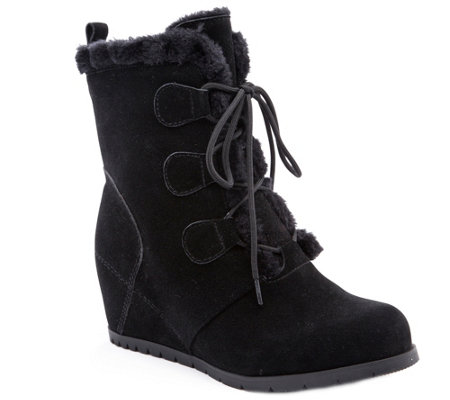 BareTraps Cold Weather Leather Wedge Ankle Boots - Bonnie