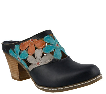 Spring Step L'Artiste Open Back Leather Clogs -Helga