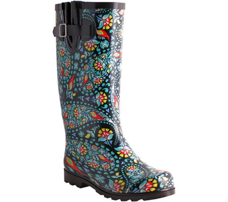 Nomad Rubber Black & Green Paisley Rain Boots -Puddles