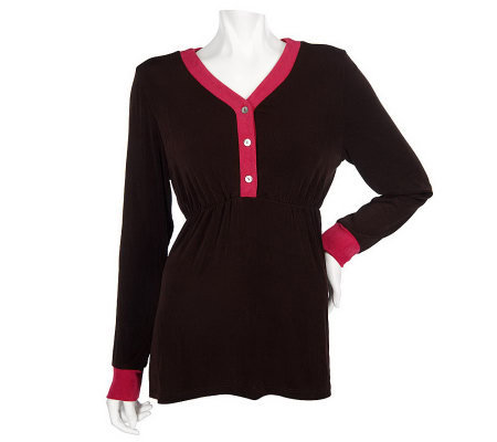 Citiknits Long Sleeve Empire Waist V-neck Tunic w/ Colorblock Trim