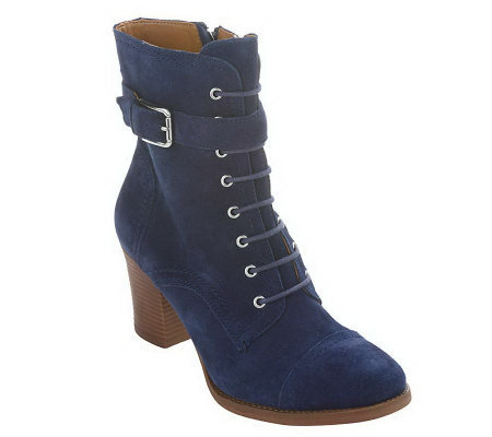 Tignanello Leather or Suede Lace-up Ankle Boots w/ Stacked Heel