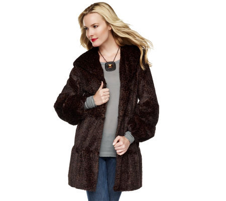 Dennis Basso Faux Fur Leopard Tiered Coat with Hood