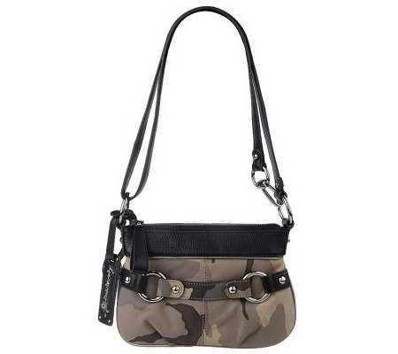 """As Is"" B.Makow sky Camouflage Leather Zip Top Crossbody bag"