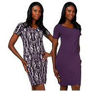 Women with Control Print & Solid Short Sleeve Set of  Dresses - A225287