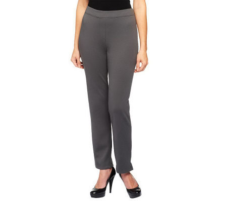 Joan Rivers Wardrobe Builders Regular Ponte Knit Slim Pants