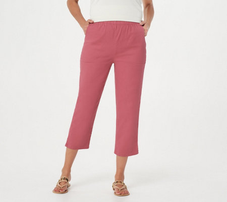 """As Is"" Denim & Co. Original Waist Stretch Crop Pants with Side Pockets"