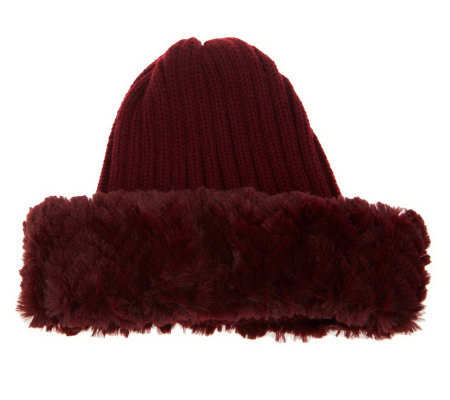 Dennis Basso Rib Knit Skull Cap with Faux Fur Trim