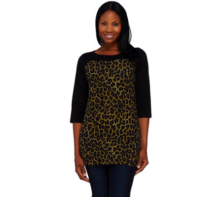 Denim & Co. Knit 3/4 Sleeve Animal Print Tunic