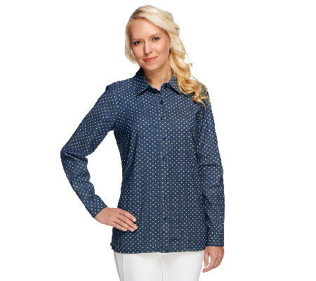 Denim & Co. Button Front Long Sleeve Dot Print Denim Shirt
