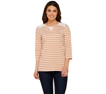 Denim & Co. Perfect Jersey 3/4 Sleeve Striped Top w/ Lace Detail - A252687