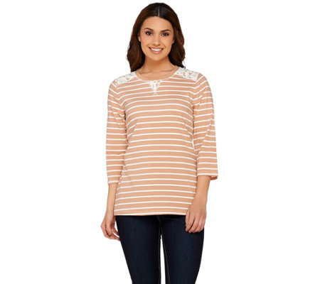 Denim & Co. Perfect Jersey 3/4 Sleeve Striped Top w/ Lace Detail
