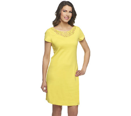 Liz Claiborne New York Regular Knit Dress with Lace Detail