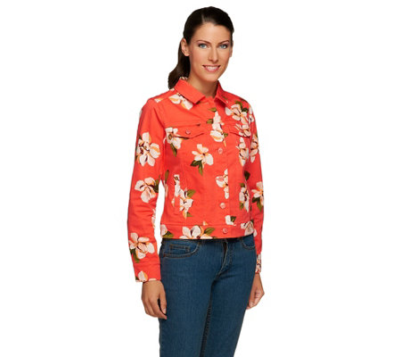 Isaac Mizrahi Live! Denim Jacket with Magnolia Floral Print