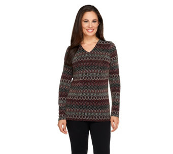 Linea by Louis Dell'Olio Zig Zag Patterned V Neck Top - A257287