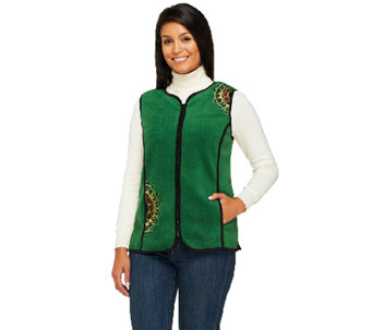 Bob Mackie's Zip Front Embroidered Fleece Vest with Pockets - A258787