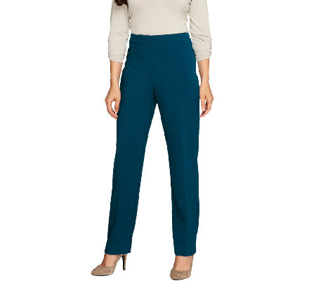 Susan Graver Chelsea Stretch Zip Front Pants w/Side Seam Detail - Petite