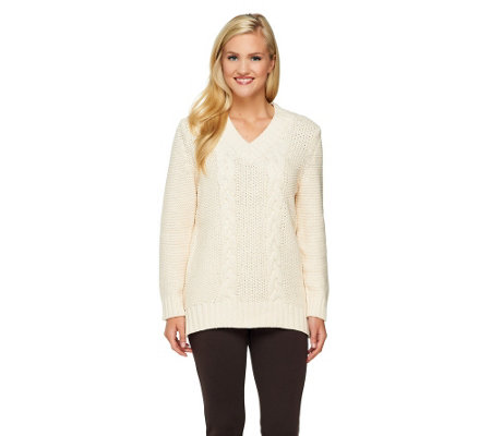 Susan Graver Cable Stitch V-Neck Sweater with Hi-Low Hem