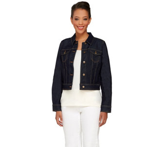 Liz Claiborne New York Cropped Denim Jacket - A263487