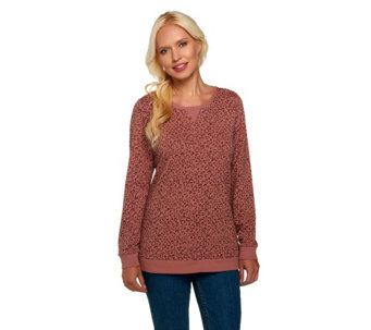 """As Is"" Denim & Co. Active French Terry Animal Print Pullover - A263787"