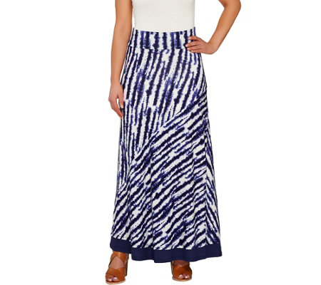 LOGO by Lori Goldstein Pull-On Printed Knit Maxi Skirt