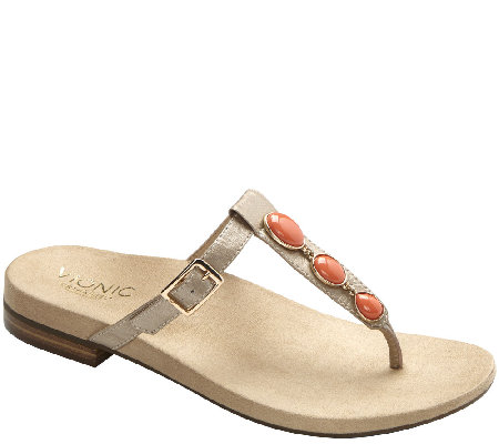 Vionic w/ Orthaheel Leather T-strap Thong Sandals - Jada
