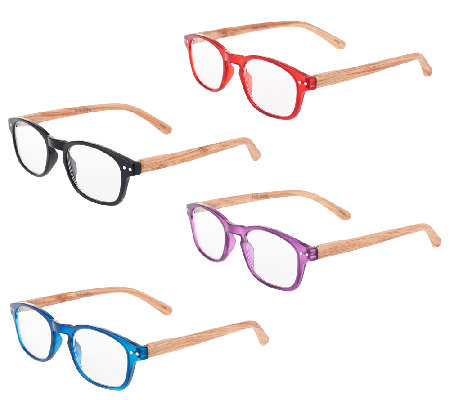 Tashon Faux Wood Readers Set of 4 Strength 0-2.5