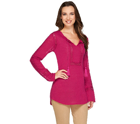 Kelly by Clinton Kelly Long Sleeve Top w/ Crochet Insert Detail