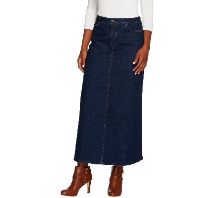 Denim & Co. Stretch Denim 5 Pocket Boot Skirt