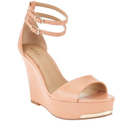 G.I.L.I. Leather Ankle Strap Wedges - Avery