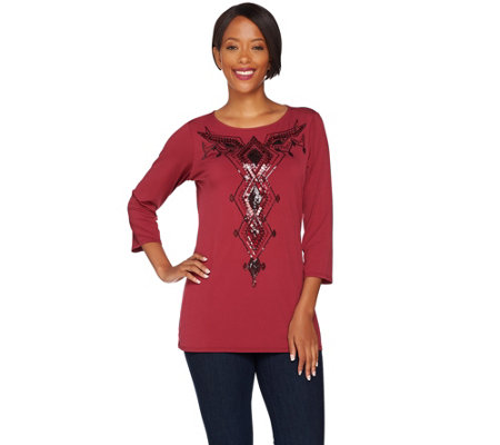 Bob Mackie's 3/4 Sleeve Sequin Front Jersey Knit Top