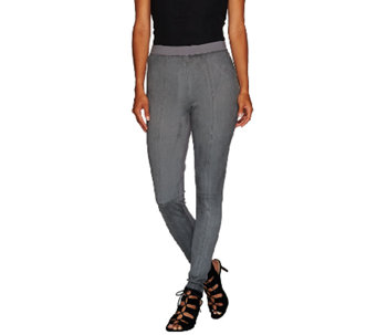 H by Halston Faux Suede & Ponte Knit Pull-On Leggings - A269487
