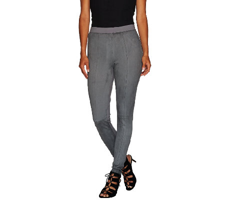 H by Halston Faux Suede & Ponte Knit Pull-On Leggings
