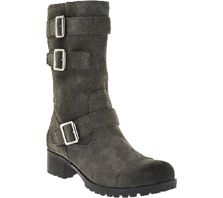 Marc Fisher Leather Mid-shaft Buckle Boots - Arianna