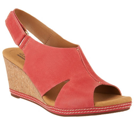 """As Is"" Clarks Nubuck Wedge Sandals with Backstrap - Helio Float"