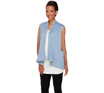 """As Is"" LOGO Lounge by Lori Goldstein Drape Front Vest with Pockets - A273087"