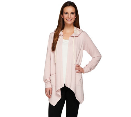 LOGO Lounge by Lori Goldstein French Terry Cardigan with Thermal & Lace