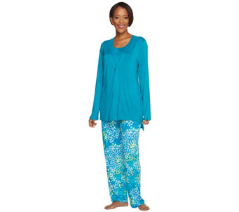 Carole Hochman Petite Abstract Hydrangea Rayon Spandex 3 Pc Pajama Set - A273587