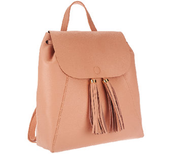 """As Is"" Isaac Mizrahi Live! Bridgehampton Leather Backpack - A274687"