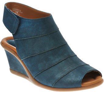 Earth Nubuck Peep-toe Wedges w/ Adjustable Backstrap - Coriander - A277087