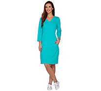 Denim & Co. Active French Terry 3/4 Sleeve Dress with Pockets - A277387