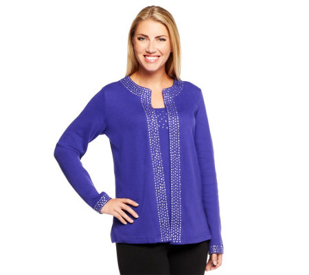 """As Is"" Quacker Factory Jewel Neck Embellished Duet Top"