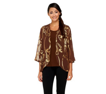 """As Is"" Bob Mackie's Lame Jacquard Graphic Print Cardigan & Tank - A279587"