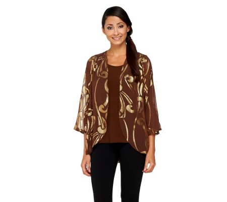 """As Is"" Bob Mackie's Lame Jacquard Graphic Print Cardigan & Tank"