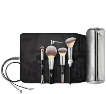 IT Cosmetics Special Edition Luxe Brush Set with Brush Roll Makeup Bag - A280487